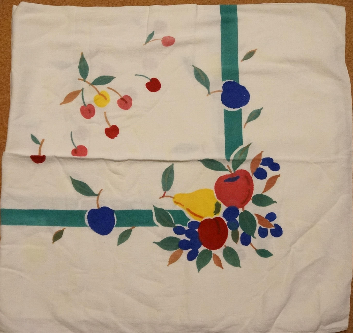 Colorful Vintage 50s Cotton Cherries Fruit Tablecloth Pears Apples Grapes Peach