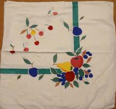 Colorful Vintage 50s Cotton Cherries Fruit Tablecloth Pears Apples Grape... - $75.00