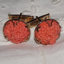Vintage Faux Carved Coral Floral Art Glass Cuff Links Cufflinks Mumms - $77.59
