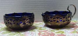 Vintage Silver Plate Cobalt Blue Glass Creamer Pitcher & Sugar Bowl - $15.00