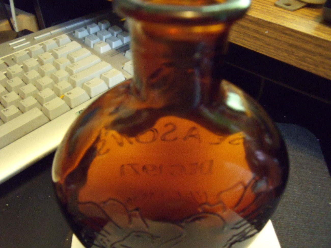 Whiskey Brown Glass Flask 1971 commemorative holiday season