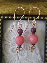 New! Handmade Sugar Pink and Purple Gemstone Copper Earrings, Handmade W... - $7.41
