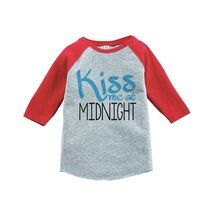 Custom Party Shop Kids Kiss Me At Midnight Happy New Year Raglan Red 4T - $20.58