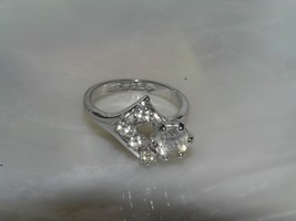 Estate Silvertone with Clear Rhinestone Round & Accents Ring Size 6 – to... - $9.85