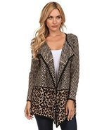 High Secret Women's Animal Print Knit Draped Neck Open-Front Cardigan - £50.26 GBP