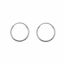 14mm Silver Hoop Earrings, Solid 925 Sterling Silver Earrings, Silver Hoop - $9.85