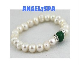 SPELLS MAGICK MONEY PEARL GREEN AGATE BRACELET ... - $295.00
