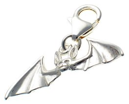 Welded Bliss Sterling 925 Solid Silver Clip On Bat Charm. Handmade by We... - $23.52