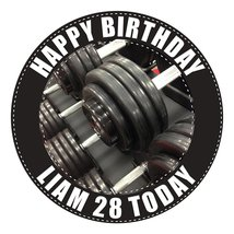 Bodybuilding Weights Cake Topper 7.5 Inch PERSONALISED Edible on Icing S... - $13.41 CAD