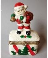 Vintage Santa Claus Trinket Box Christmas Tree Gift Present Holly Ring H... - $40.00