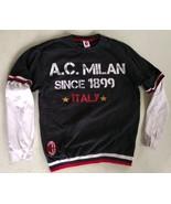 Official AC Milan Black Red White Fleece Pullover Sweatshirt ACM XL Seve... - $33.66