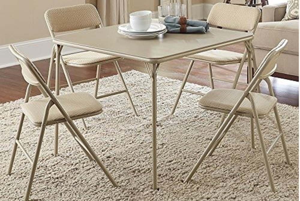 Folding card table and chairs use