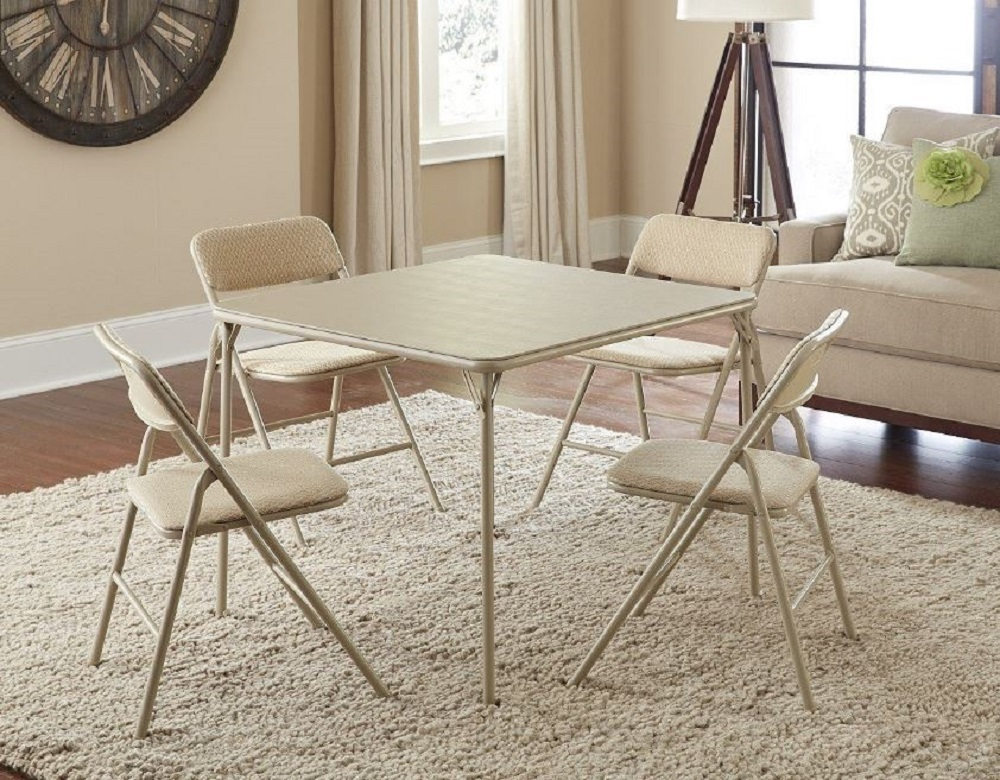 Folding card table and chairs up