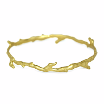 Gold Branch Bangle Bracelet, Gold Stacking Bangles, Bridal Jewelry - $9.00
