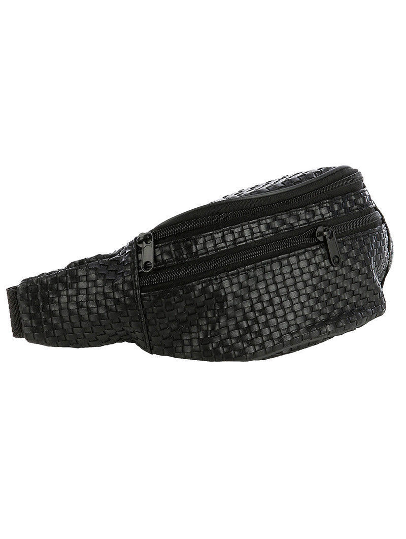 Trendy Basket Weave Fanny Pack Waist Pack Travel Runner Bag Hiking Vacation