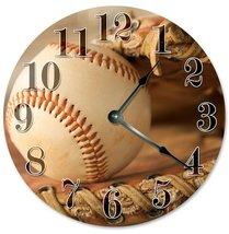 Sugar Vine Art Baseball Silent Non Ticking Round Battery Operated Handmade Hangi - $20.69