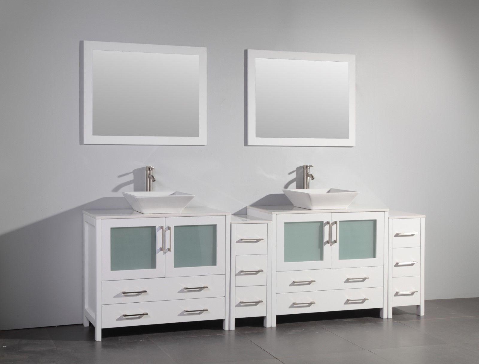 Vanity Art 96 Inch Double Sink Bathroom Vanity Set With Ceramic Top VA3136