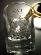 Vail Shot Glass Clear Glass with Black Chateau Mountain Scene Gold Rim - $6.99