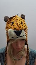 NEW ADULTS PLUSH KNIT FLEECE ANIMAL CAP HAT BEANIE W/TASSEL TIGER NEW! - $12.64