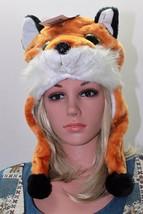 NEW ADULT PLUSH FLEECE ANIMALFARRAH FOX CRITTER CAP HAT SKI CAP FREE SHI... - $29.91