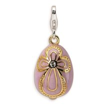 925 Sterling Silver Gold-Plated Crystal 3-D Pink Egg w/ Lobster Charm - ... - $53.70