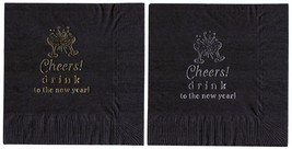 """25 """"Cheers! """" Black New Years Party Cocktail Napkins In Gold - $5.93"""