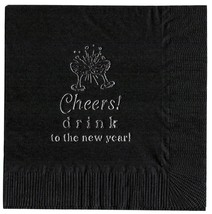 "25 ""Cheers! ""  Black NEW YEARS PARTY  cocktail NAPKINS in Silver - £4.61 GBP"