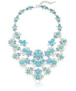 Women's Maldives Glam Silver Tone Blue Statement Collar Necklace Jewelry... - £76.86 GBP