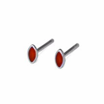 Tiny Carnelian Stone Marquise Shape Stud Earrings, Red Inlay Earrings - $12.00