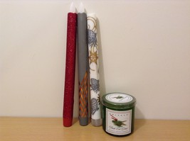1 Kringle Candle Company 5oz Glass Jar Candle and 3 Flameless Wax Candlesticks