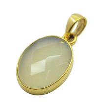 bonnie Chalcedony Gold Plated Blue Pendant Glass common US - $11.28