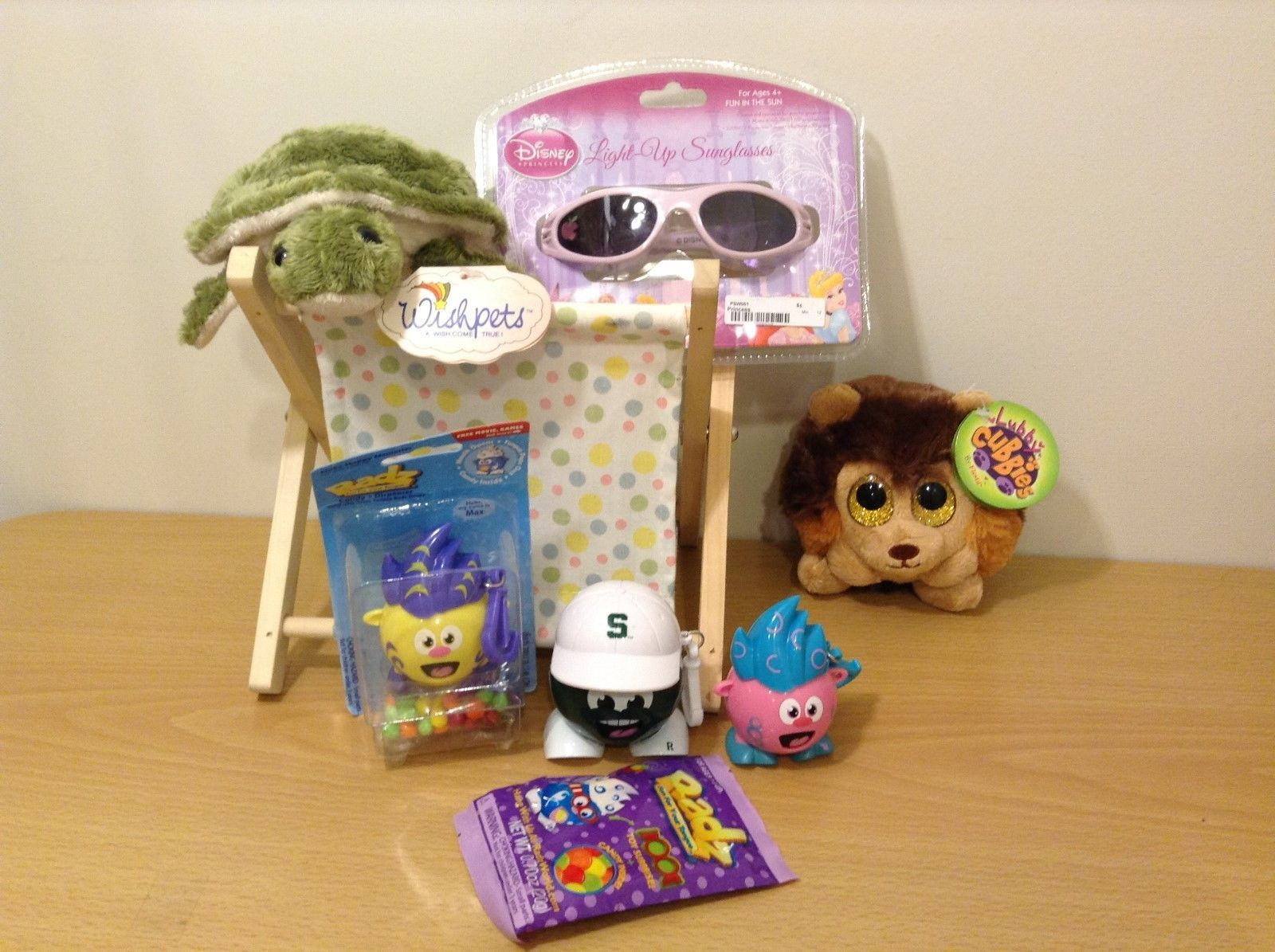 Plush Toys, Hamper, Disney Sunglasses and Radz Collectable Candy Dispenser