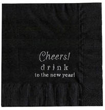 """25 """"Cheers!"""" New Years Party Black Beverage Cocktail Napkins In Silver - $5.93"""