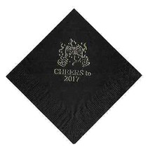 """25 """"Cheers"""" New Years Party Black Beverage Cocktail Napkins In Gold - $5.93"""