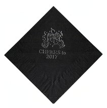 """25 """"Cheers"""" New Years Party Black Beverage Cocktail Napkins In Silver - $5.93"""