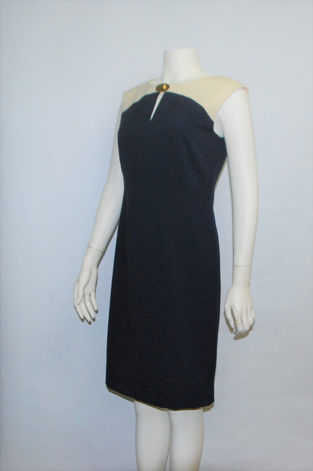 Calvin Klein Blue Beige Sleeveless Sheath Business Party Dress 4% Spandex Size 6