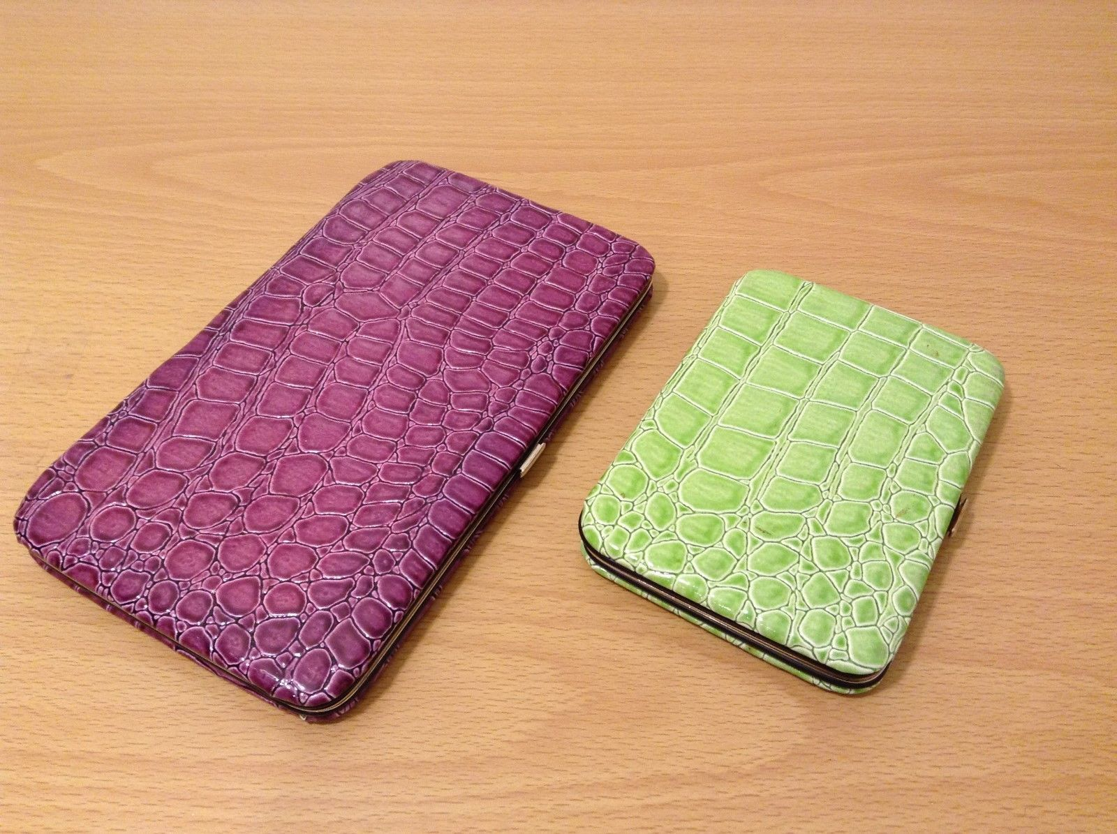 Ladies Crocodile Pattern Wallet/Organizer Choice of LG/SM Sz Purple/Lt Green