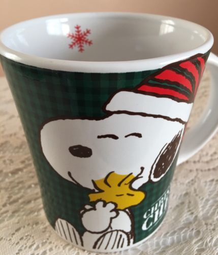 Peanuts Snoopy Woodstock Christmas Mug Plush NWT New Yellow Seasonal Holiday