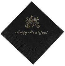 """25 """"Happy New Years"""" Black Beverage Cocktail Napkins In Gold - $5.93"""