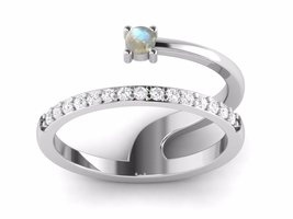 Shine jewel 925 silver round moonstone antique designer gorgeous ring - $18.20