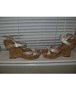 Jessica Simpson Brisa New Frost Illusion Leather Strappy Cork Wedges   1... - $39.99