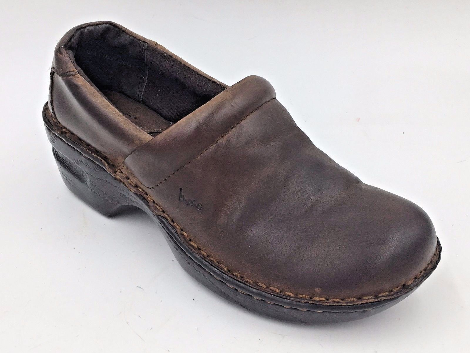 Comfort Shoes Born Size 8 Brown Leather Clogs Mocs Comfort Shoes Pre-owned Reasonable Price