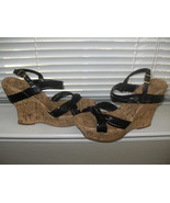 Jessica Simpson New Womens Black Leather Strappy Cork Wedges   10B/40 - $39.99
