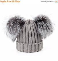 New! 2 Pom Pom Genuine Silver Fox Fur Pompom Grey straight knitted Beani... - €39,53 EUR