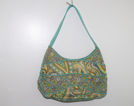 Vera Bradley Lemon Parfait Pattern Teal Yellow Flower Shoulder Bag Purse - $19.80