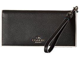 COACH Women's Tricolor Edgestain Slim Wallet Silver/Black Tricolor Wallet - $152.46