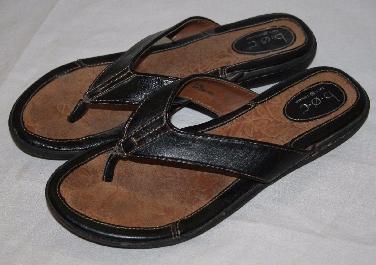 b28887a70853 B.O.C. Born Concept BOC Black Leather Thong Flip Flops Womens Sandals 9 40.5
