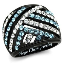 HCJ WOMEN'S BLACK STAINLESS STEEL AQUAMARINE & WHITE CRYSTAL DOME RING S... - $21.49