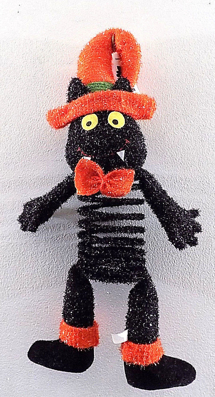 Springy Plush Halloween Black Cat Door Hanger Decoration Cat Toy