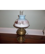 Antique Rayo Brass Oil Lamp Electric Converted Hand Painted Winter Cabin... - $110.00